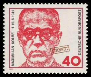 German Stamp commemorates Kolbe (with Auschwitz stamp on it)